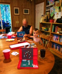 LittleMan playing battleship at VRBO at Lake Cushman family reunion 1